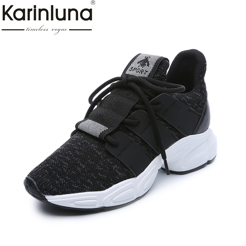 Karinluna 2018 Fashion Sneakers Shoes Comfortable Easy Walking Shoes Women Lace Up Light Soft Women Shoes Woman glowing sneakers usb charging shoes lights up colorful led kids luminous sneakers glowing sneakers black led shoes for boys