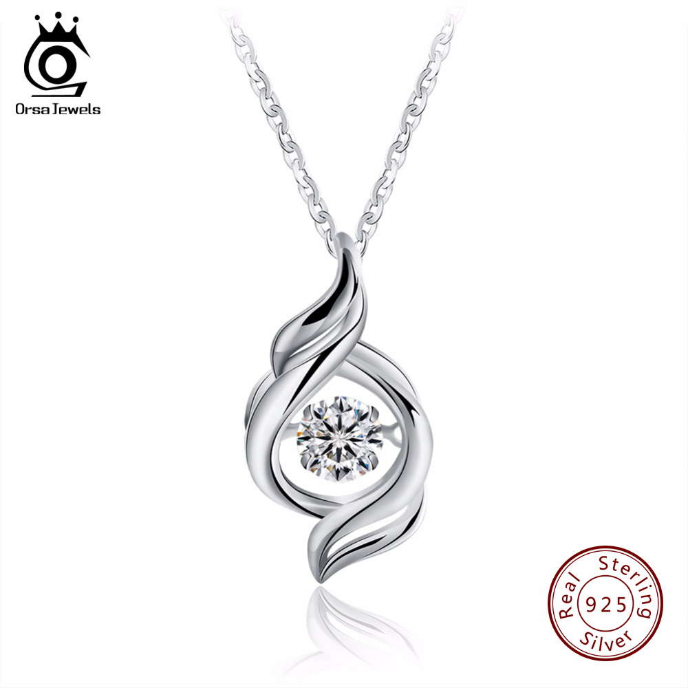 ORSA JEWEL S925 Sterling Silver Pendant Necklaces with 0 3 ct Shiny CZ Fine for Women