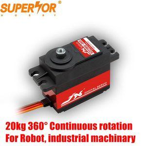 JX PDI-6221MG-360 20KG 360 degree Continuous rotation Metal Gear Digital Standard Servo for Robot industrial machinary arm
