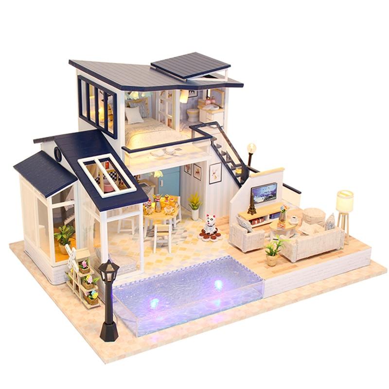 Toys & Hobbies Diy Dollhouse Miniature Kids Room Kit With Light Comfortable Feel