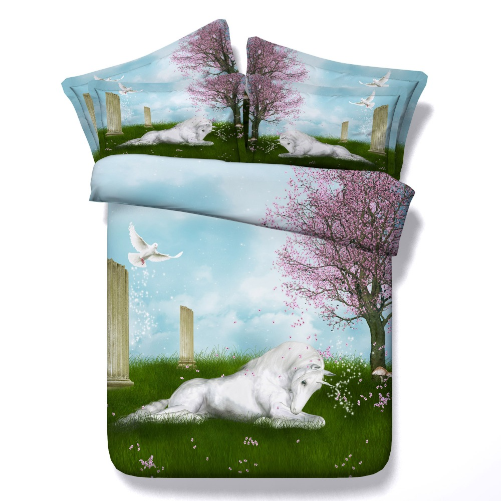 Horse bedding for girls - White Horse Bedding Sets 3 4 Pcs 3d Unicorn Printed Comforter Cover King Queen Twin Sizes Bedspreads Girls Kids Home Decor 500tc