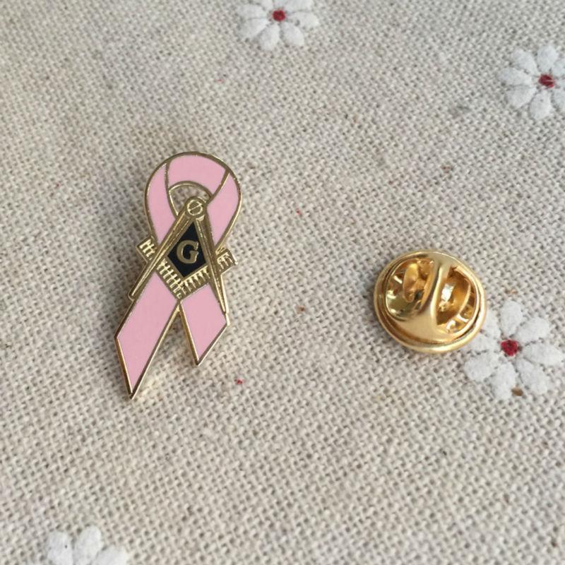 1pc Awareness of Breast Cancer Square and Compass G Ribbon Pins Badge Masonic Master Mason Cancer Awareness Pink Lapel Pin