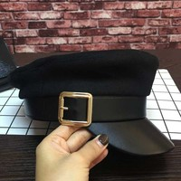 European And American New Woolen Stitching Leather Eaves Knights Cap Back Ancient Student Hat Baseball Cap