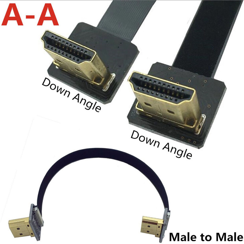 FPV Dual Up Angled 90 Degree HDMI Type A Male to Male HDTV FPC Flat Cable Type-D