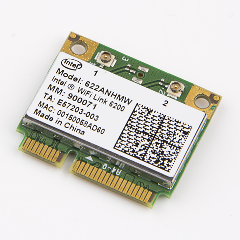 Wireless Wi-Fi Card With Intel Centrino Advanced-N 6200 622ANHMW With Mini PCI-E 300Mbps 802.11AGN Dual Band 2.4G/5GHZ