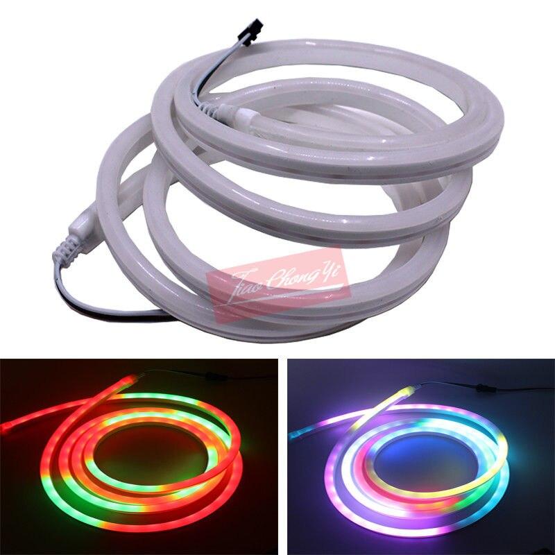 5M DC5V WS2812B (SK6812) 3535 addressable led neon pixel light,RGB full color;60leds/m with 60pixels/m; IP68 waterproof NEW sk6812 1m 2m mini 3535 addressable rgb led pixel strip 144leds m dc5v non waterproof with full color 144pixels m 8mm white pcb