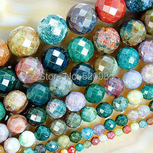 Free Shipping Natural Stone Faceted Indian Agata Beads for Bracelet and Necklace Mking(China)