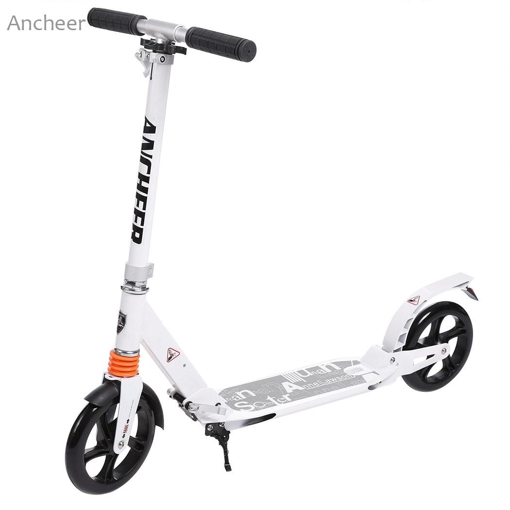 Nuovo Scooter Monopattino Robusta Leggero Altezza Regolabile In Lega di Alluminio T-Style Pieghevole Adulti Piede Scooter