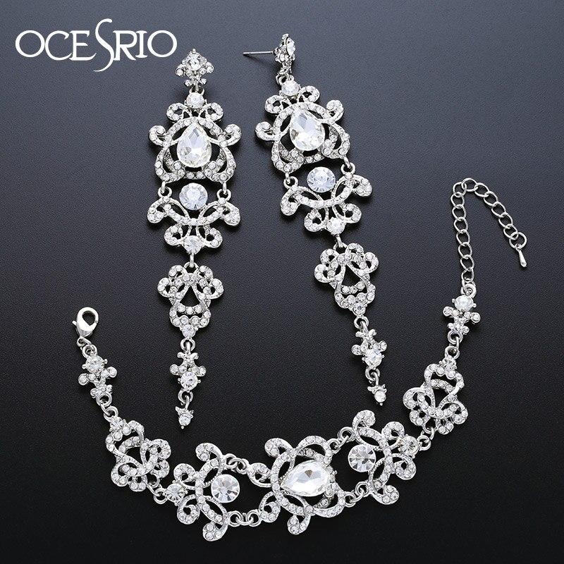 a529d023b965 OCESRIO Топ Роскошные комплекты ювелирных изделий Серебро Циркон Большие  длинные ...