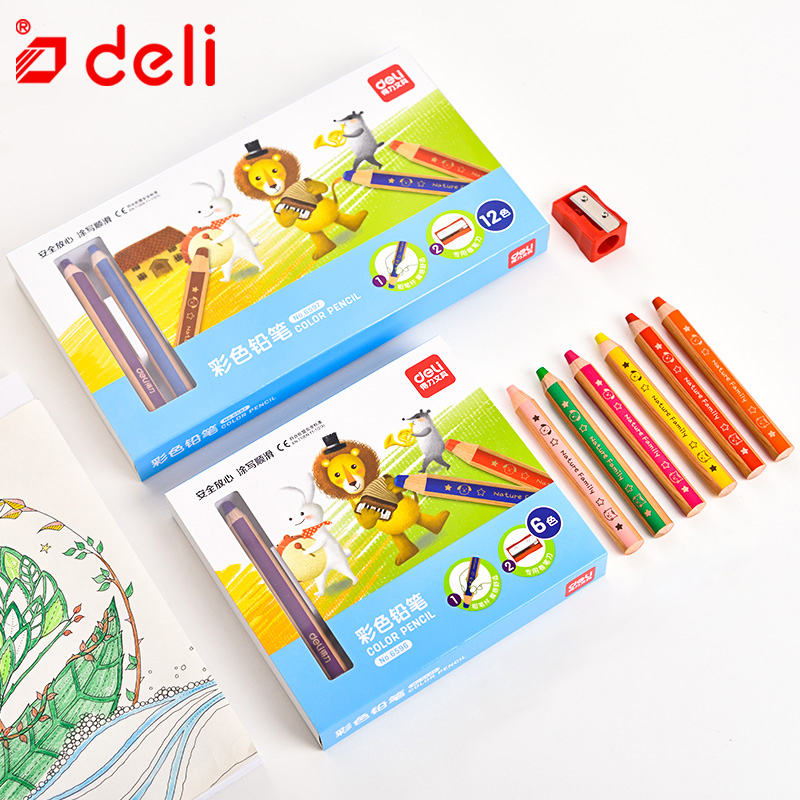 Deli 6/12pcs color pencil thick rod student drawing pencil set stationery children crayon pencils school office art supplies(China)