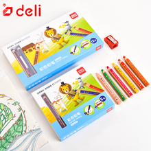 Deli 6/12pcs color pencil thick rod student drawing set stationery children crayon pencils school office art supplies