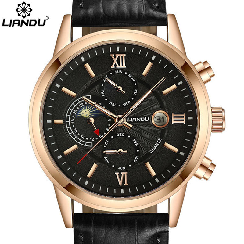 LIANDU Moon Phase Men's Casual Quartz Watch Multiple Time Zone Men Genuine Leather Strap Sports Wathches Men weide new men quartz casual watch army military sports watch waterproof back light men watches alarm clock multiple time zone
