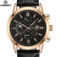 Liandu moon phase męska casual kwarcowy zegarek multiple time zone mężczyzna prawdziwy skórzany pasek sport wathches mężczyzn