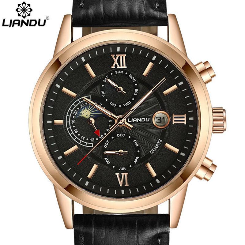 Prix pour Liandu de phase de lune hommes casual quartz multiple fuseau horaire hommes véritable bracelet en cuir sport wathches hommes