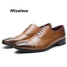 Misawla Men's Join the Fun Oxford Shoes Male Wedding Moccasins Loafer Lace-up Retro Leather Square Toe Flat Elegant Formal Shoes