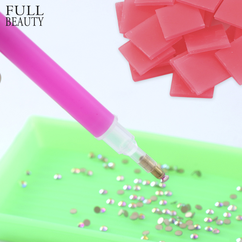 1 Set Plastic Wax Dotting Pen DIY Diamond Paste Sticker Adhesive Cube Clay For Rhinestone Point Picker Nail Art Manicure CH686