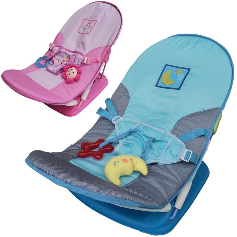 Babystol Nyfødt Chaise Lounge Spedbarn, sammenleggbar stolstol med belte og leker Baby Avslappet sammenleggbar Reisestol Babypleie 2018