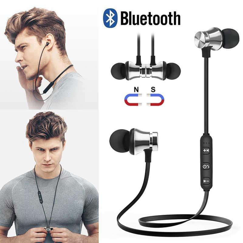 Przyciąganie magnetyczne zestaw słuchawkowy Bluetooth słuchawki odporny na pot sportowe słuchawki douszne z kablem do ładowania młody słuchawkowy wbudowany mikrofon F2C368