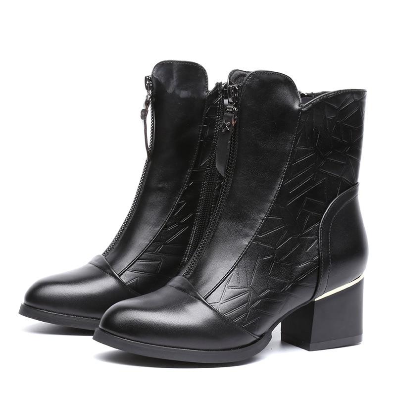 Femmes Talons marron En Mi Brown Pour Épais Bottes mollet Black Véritable Chaussures with Cuir 2018 Hauts Les Martin with New Pointu Plush Vintage Place Noir Bout D'hiver xA1qZFFIzw
