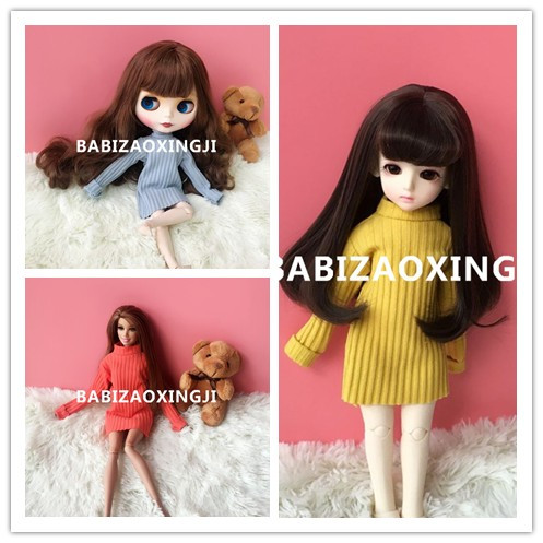Free shipping cheap Handmade sweater Doll Clothes Doll accessories for Blythe Azone Licca Barbie Christmas Toys Gift 4pcs simulation of food dollhouse for bjd doll for blythe new fashion doll accessories food for barbie doll free shipping