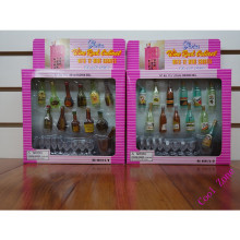 1 Set Mini Doll Furniture 22items =1 Wine Cabinet+12Pcs Bottles+9Pcs Wineglass for Barbie Dollhouse Best Gift Toy for Girl
