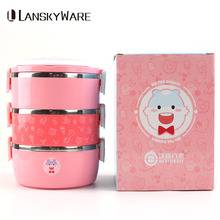 LANSKYWARE Cartoon 304 Stainless Steel Lunch Box Chinese Thermal Bento Portable With Bag Kids Picnic School Food Container