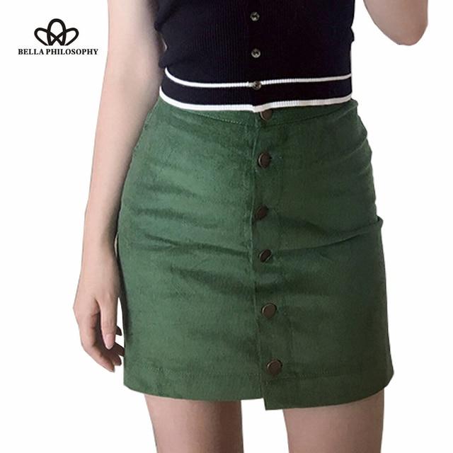 Bella Philosophy 2017 spring summer women's A-Line empire corduroy button skirt black pink green