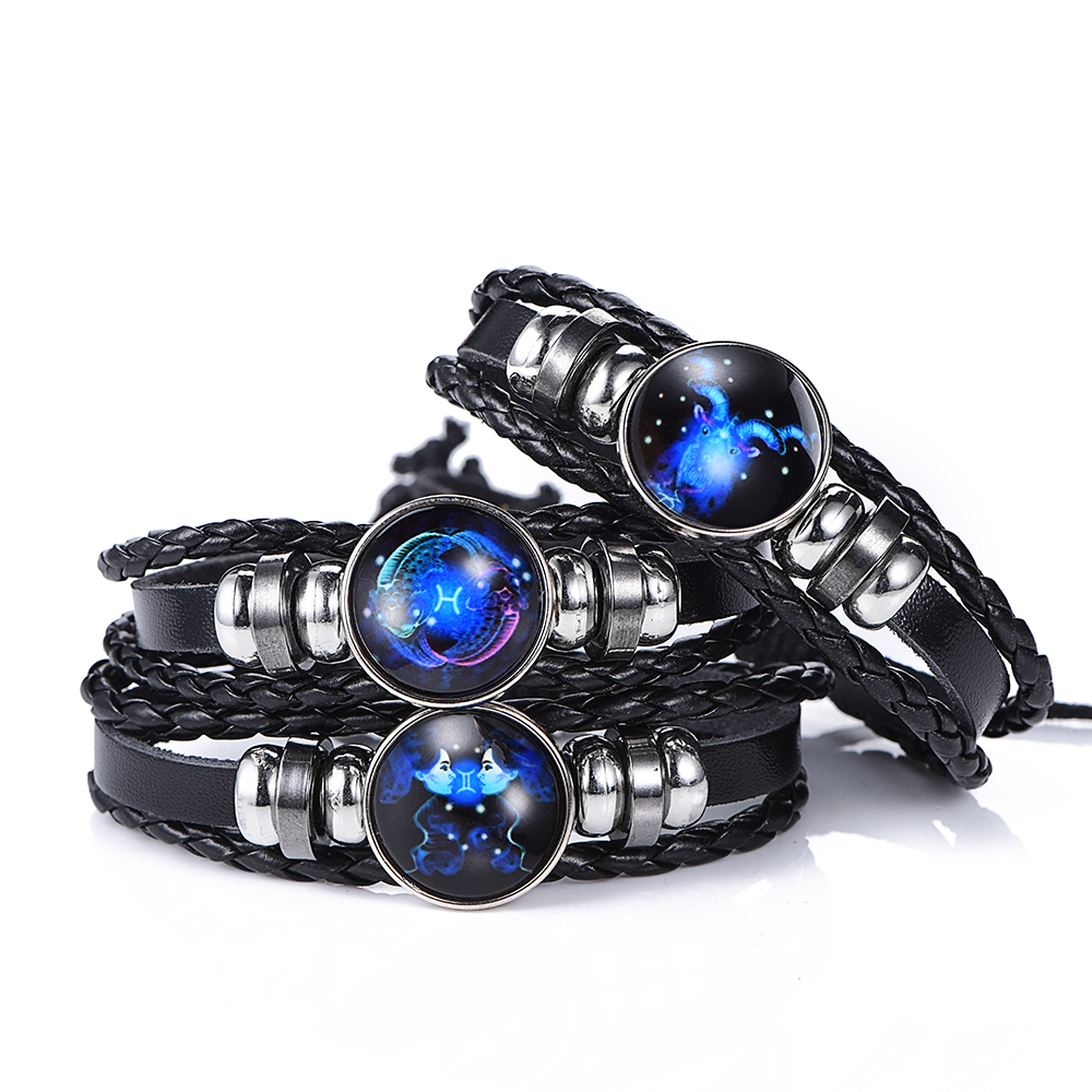 DropShiping Gemini Cancer Leo Virgo Libra Scorpio 12 Constellation Black punk Leather Bracelet Zodiac Bracelet for Men Women(China)