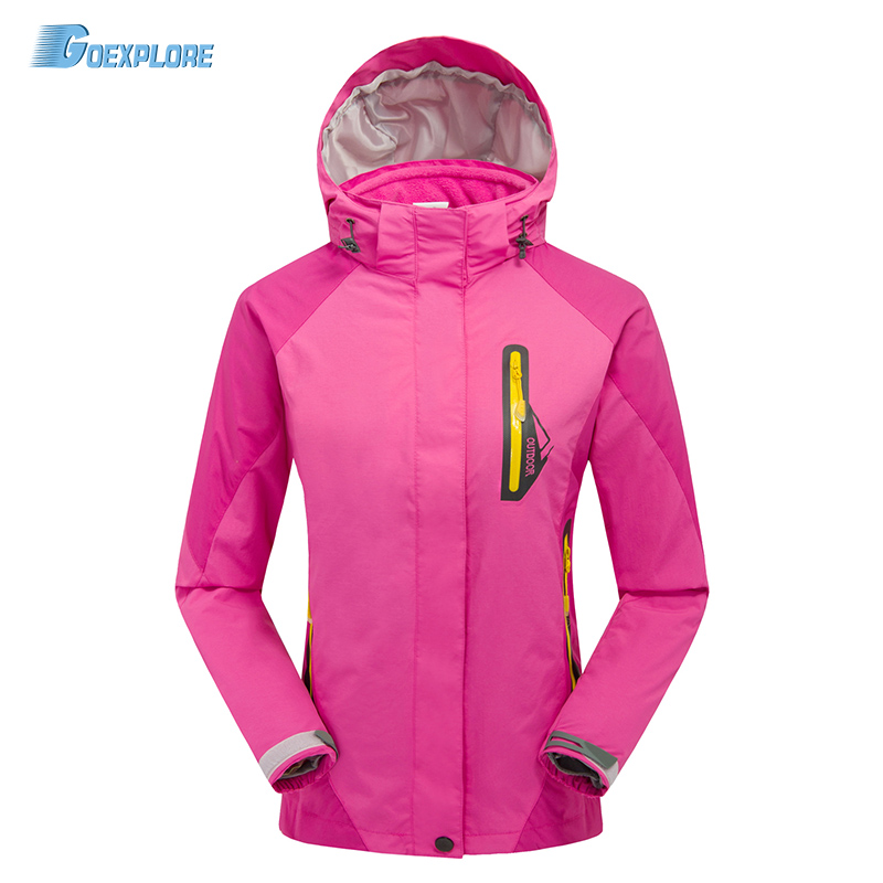 Dropshipping new double layer coat  female outdoor hiking camping sport top hooded Wind Waterproof winter ski jacket for women yin qi shi man winter outdoor shoes hiking camping trip high top hiking boots cow leather durable female plush warm outdoor boot