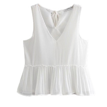 купить Women V-neck Chiffon Blouse and Tops Summer Top Casual Bow Pleated Loose Sleeveless Solid Blouses Female Shirts Vest онлайн