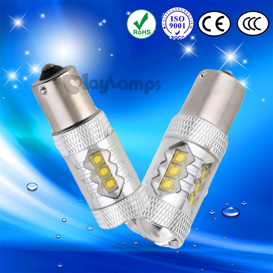2x High Power P21W led 1156 BA15S 80W CREE Chip LED Car Reverse Backup Bulbs  Reversing Lamp Sourcing Light White
