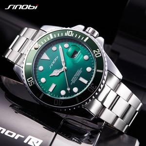Image 5 - SINOBI שעון גברים 2020 מקרית שעונים תאריך נירוסטה בנד יוקרה שעון ספורט שעונים זהב Relogio Masculino