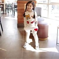 Retail 2016 New Girls Clothing Sets Baby Kids Clothes Children Clothing T Shirt Pants 2pcs Lipstick