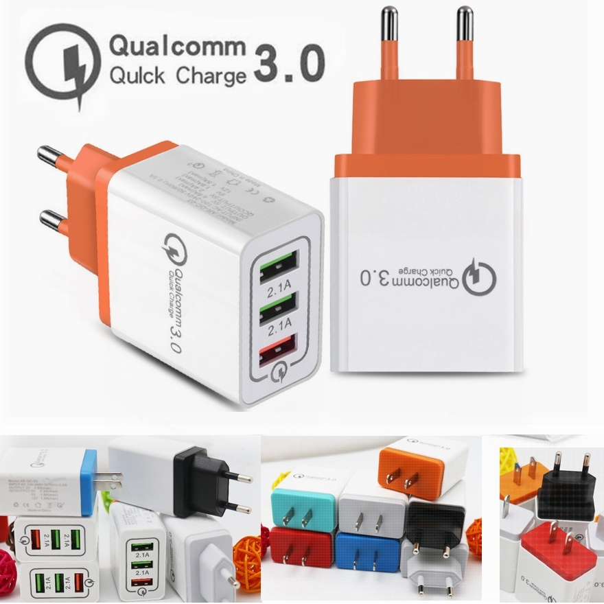 3USB 3 Ports Quick Charger QC3 0 QC 3 0 USB charger Support Smart Fast Charge