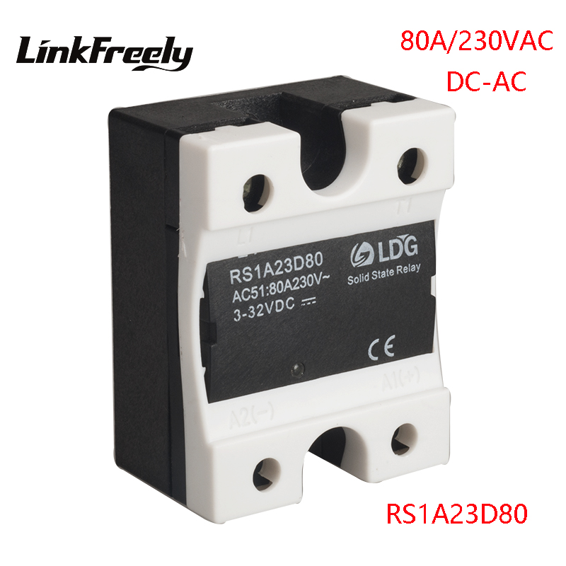 RS1A23D80 5pcs 1 Phase Solid State Relay 80A Output 24-280VAC Input 5V 12V 24V DC AC SSR Motor Soft Starter Relay Board Switch new and original sam4080a gold single phase ac solid state relay 90 280vac 48 530vac 80a