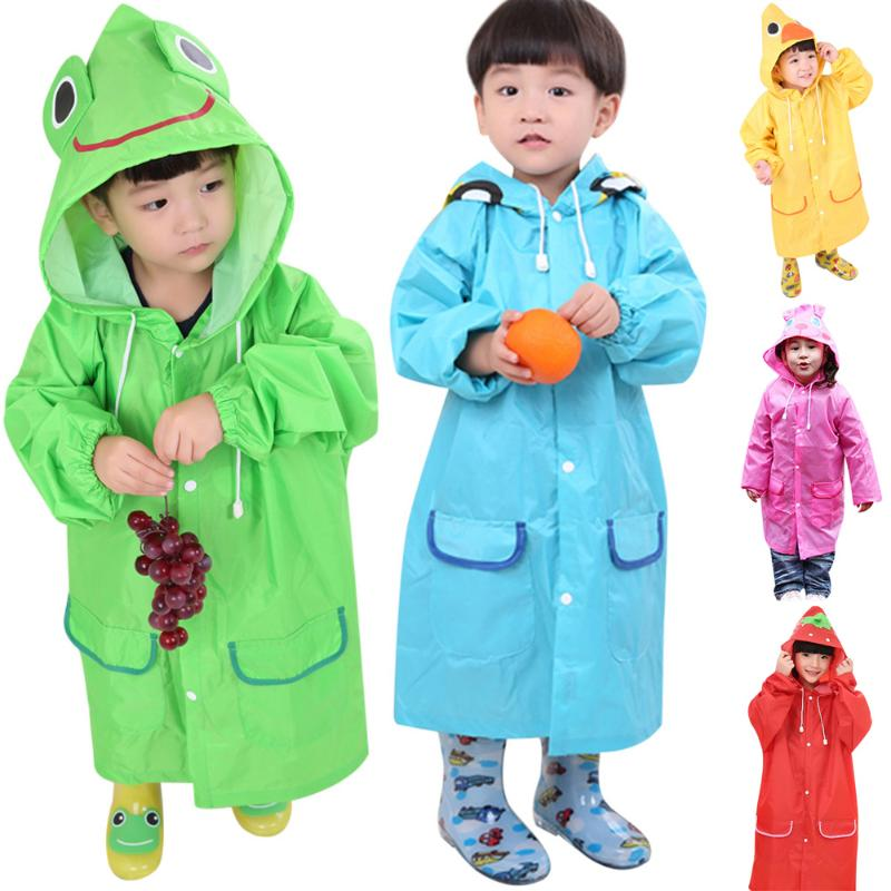 цены Cute Small Cartoon Waterproof Polyester Rain Coat Boy Children Girls Windproof Poncho Rain-wear Student Baby Raincoat Cloth