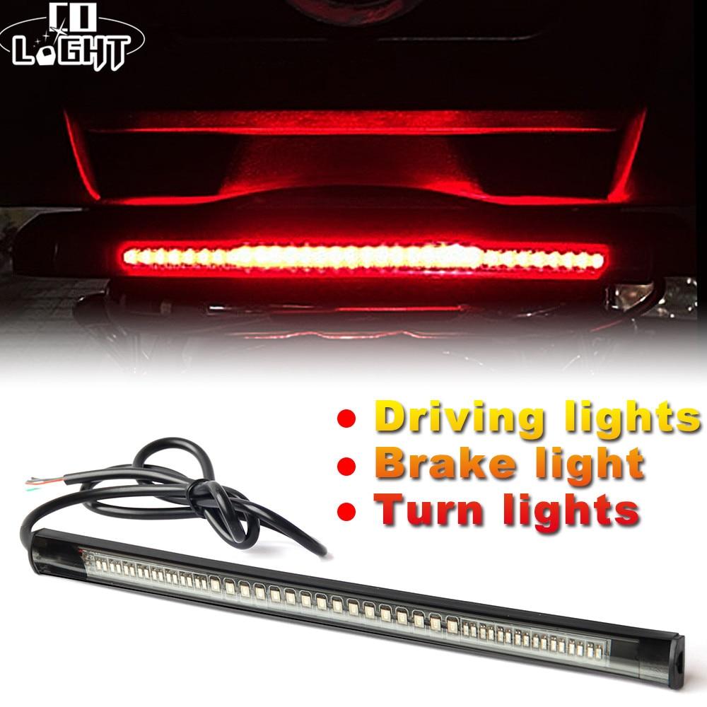 CO LIGHT Universal Led Strip 48Leds Flexible Stop Running Light DC 12V Motorcycle Turn Signal Brake Tail Strip For Car ATV Niva