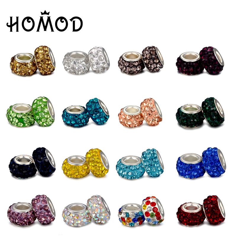 SPINNER 16 Colors Rhinestone Charm Beads Fit Pandora Charm Bracelet for Women Authentic DIY Jewelry Gift Wholesale