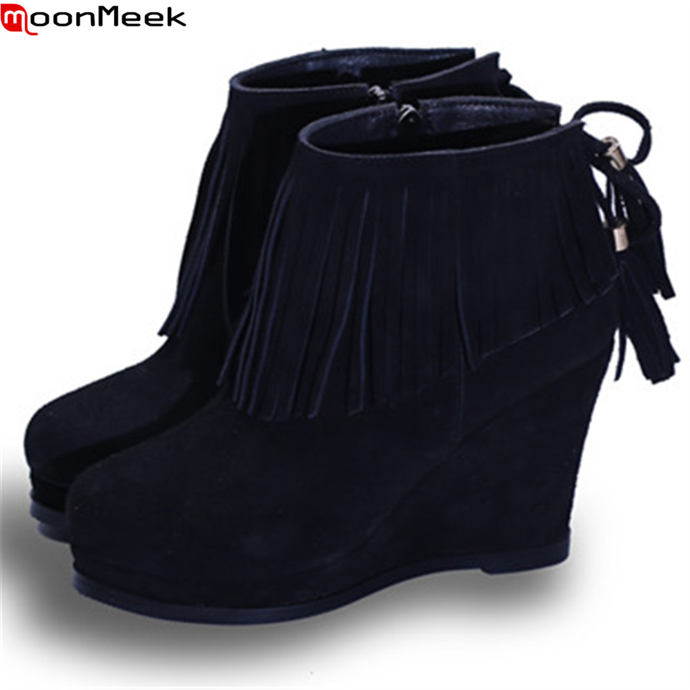 MoonMeek black wine red fashion new arrive women boots round toe cow suede ladies boots wedges fringe ankle boots zipper moonmeek fashion winter new arrive women boots black red white super high ladies boots zipper buckle ankle boots platform