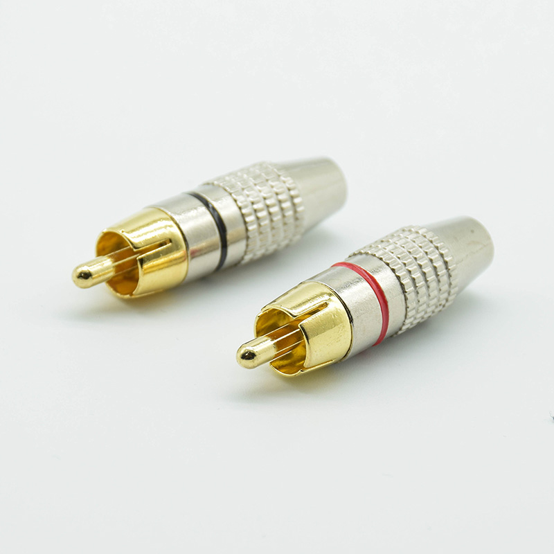4pcs Balck + Red Gold RCA Male  Plug Non Solder Audio Video Adapter Connector Male To Male Convertor For Coaxial Cable
