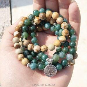Image 4 - SN1005 mousse image naturelle pierre 108 Mala perles Yoga collier arbre de vie Mala Wrap Bracelet mode pierre naturelle bijoux