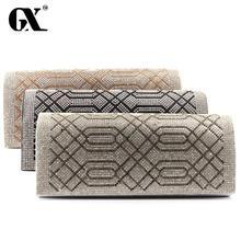 GX Evening Bag Lady Rhinestone Geometric Pattern Clutch Crystal Day Clutch Wallet Purse Party Banquet Bolsas