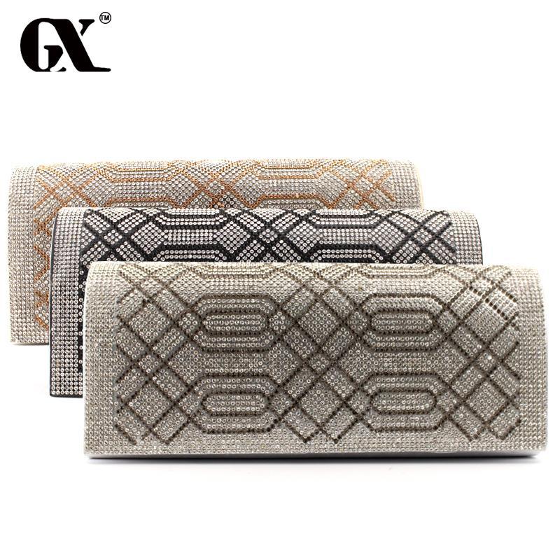 GX Evening font b Bag b font Lady Rhinestone Geometric Pattern Clutch Crystal Day Clutch Wallet