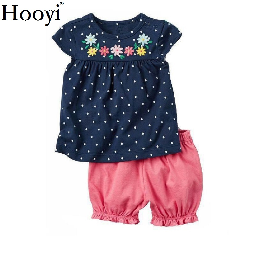 Hooyi Floral Baby Girls Clothes Suit Newborn Clothing Sets Polka Dot Children T-Shirt Hot Shorts Summer Outfit 0-2 Years Infant