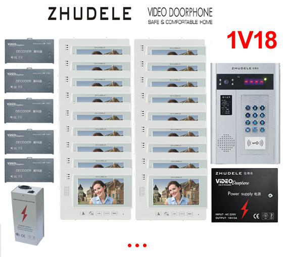 ZHUDELE Building Home security intercom system 18 Units Apartment Video Door Phone Bell Intercom System 7 TFT monitor IN STOCK