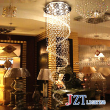 W Spiral Crystal Chandelier Modern Ceiling Lamps Fixture Living Room Stairs Corridor Lighting Round Hanging Lamps Bulbs Included