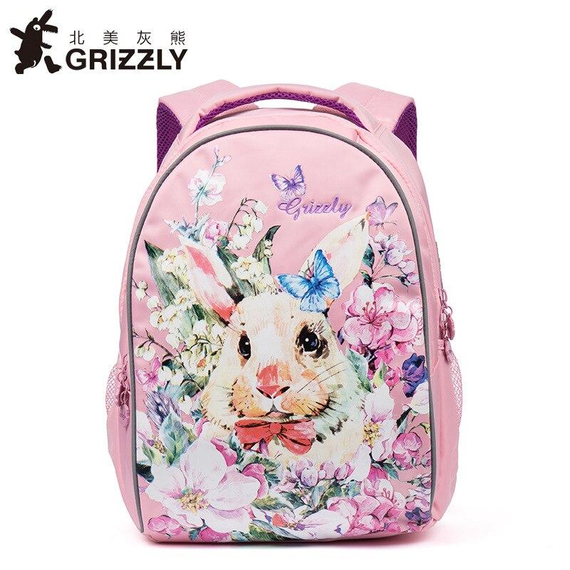 aa0a1e9be019 Рюкзак гризли школьная сумка мультфильм прекрасный кролик класс 1-3 Детские  ортопедические рюкзаки девочка школьный портфель Mochila Escolar