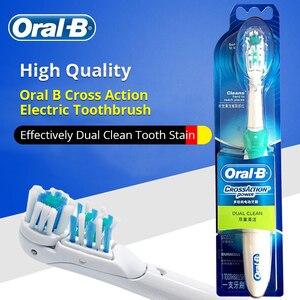 Image 3 - Oral B Cross Aktion Power Zahnbürste Dual Clean Oral Hygiene AA Batterie Elektrische Zahnbürste 4 Pcs Ersatz Pinsel Köpfe Freies