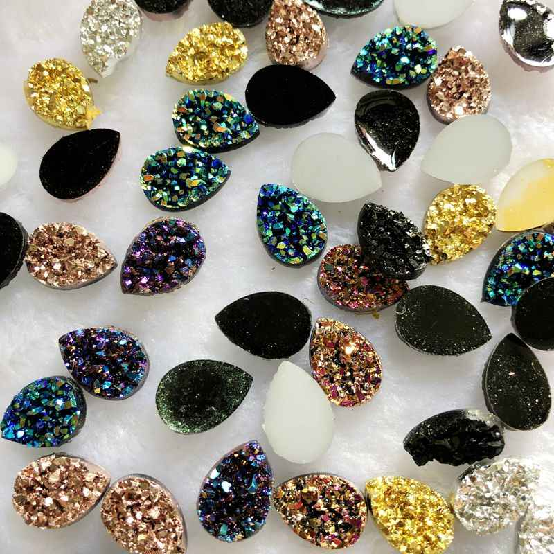 Glitters 50 adet 10*14mm AB renkler Mineral yüzey reçine Rhinestone Flatback Cabochon taş DIY düğün dekorasyon el sanatları-A57