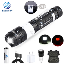 USB Rechargeable LED Flashlight Super Bright Waterproof Sidelight  6 Modes Multifunction Torch Support Zoom Use 18650 Battery super bright military grade 5 modes xml t6 flashlight 3800lm zoom led flashlights use rechargeable 18650 battery led torch